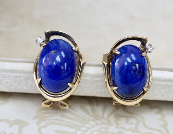 Colorful ~ Blue Lapis Earrings with Diamond accents