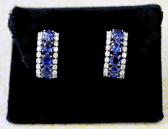 Sparkly ~ Sapphire & Diamond Earrings