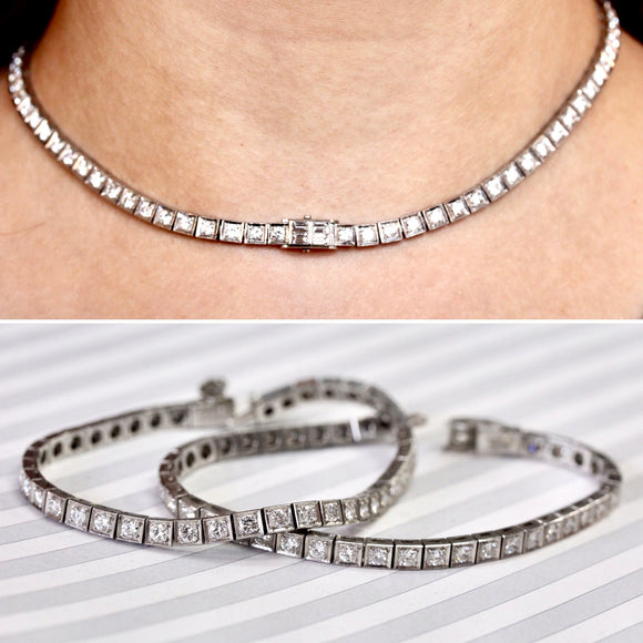 AMAZING ~ Platinum Diamond Necklace/Bracelet