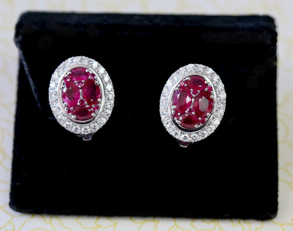 Colorful ~ Ruby & Diamond Earrings