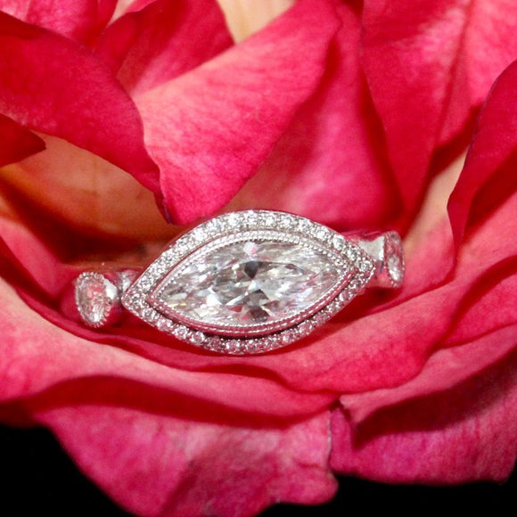 Hand-crafted  Marquis Diamond Engagement Ring