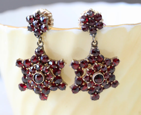 ANTIQUE ~ Bohemian Garnet Earrings