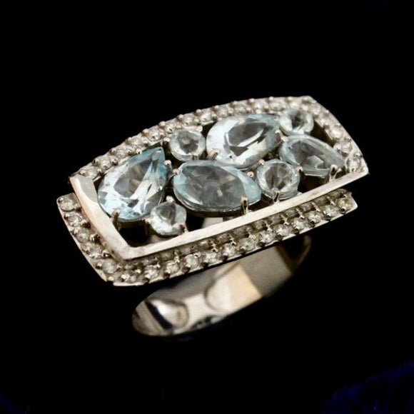 Spectacular Blue Topaz Statement Ring, 18K, White Gold