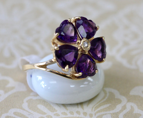VINTAGE ~ Amethyst Heart Ring with Diamond Center
