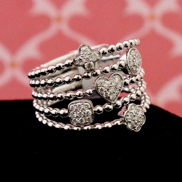 Chic Contemporary Pave Diamond Ring