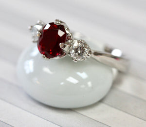 "Designer ""Tacori"" Platinum Ruby & Diamond Ring"