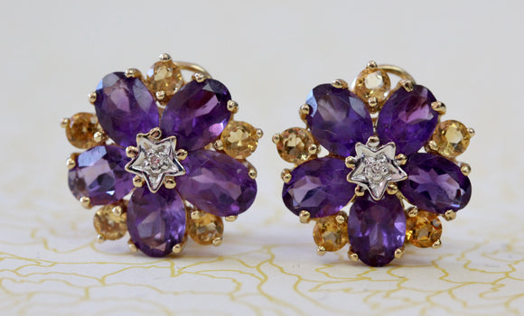 Playful & Colorful ~ Amethyst Earrings with Citrine & Diamond