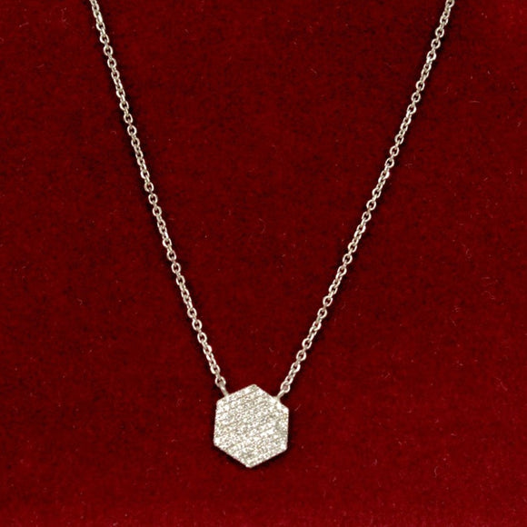 14K Contemporary Pave Pendent