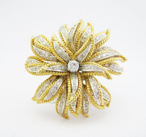 Estate Diamond Flower Pin/Pendant
