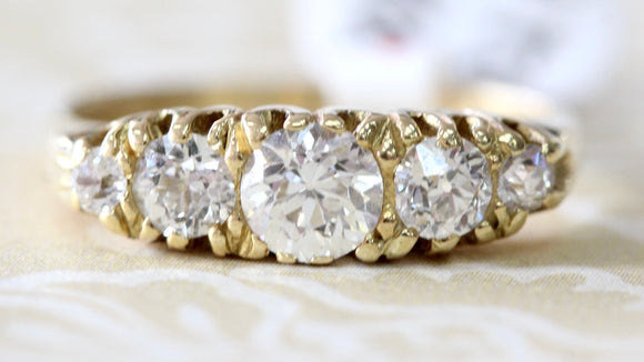 Gorgeous ~ 5 Stone Graduated Diamond Ring, Circa 1900's