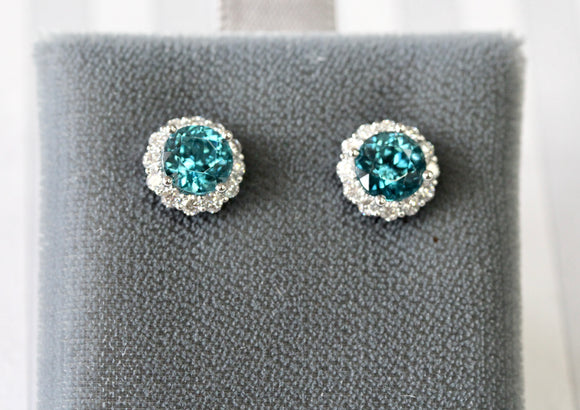 Adorable ~ Blue Zircon & Diamond Stud Earrings