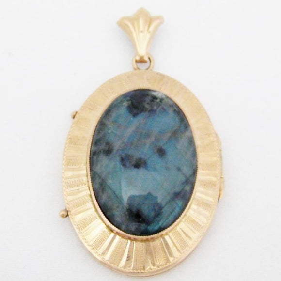 Victorian Large Oval Labradorite Locket