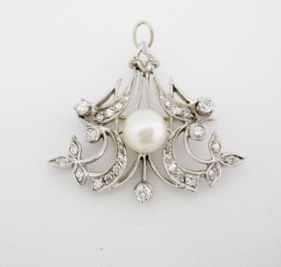 Vintage Pearl and Diamond Pendant/Pin