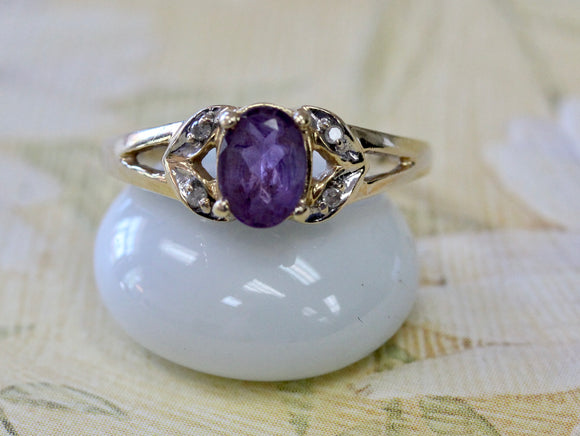 Dainty ~ Amethyst & Diamond Ring