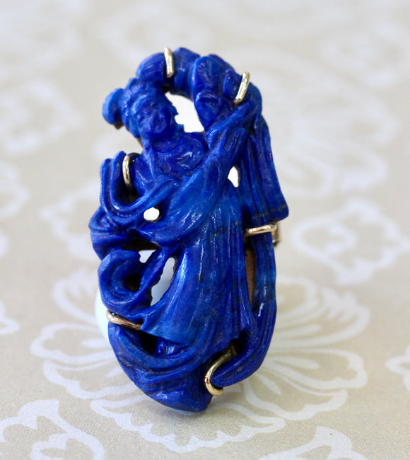Artfully Crafted ~ Carved Lapis Ring