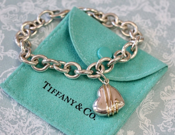 Tiffany ~ Sterling Silver & Gold Heart Bracelet