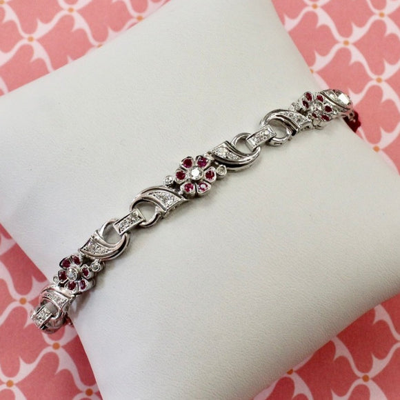 Ruby & Diamond Flower Bracelet, Palladium