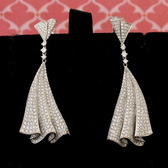 Pave Diamond Drape Earrings