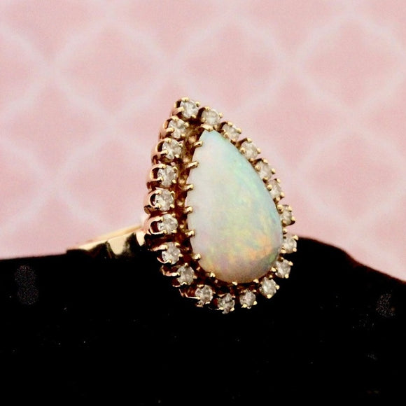 Elegant Pear Shaped Opal & Diamond Ring