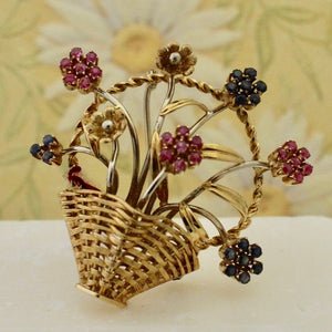 Ruby & Sapphire Basket of Flowers Pin