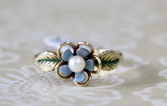 Dainty ~ Pearl and Enamel flower ring
