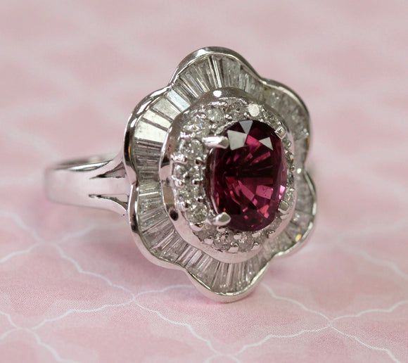 Dazzling ~ Pink Tourmaline Ring Surrounded by Round and Baguette Diamonds