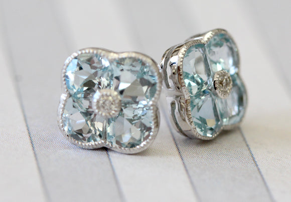 Sparkling Blue Topaz Stud Earrings