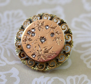 Antique ~ French Pin with Rose Cut Diamond, Circa 1890