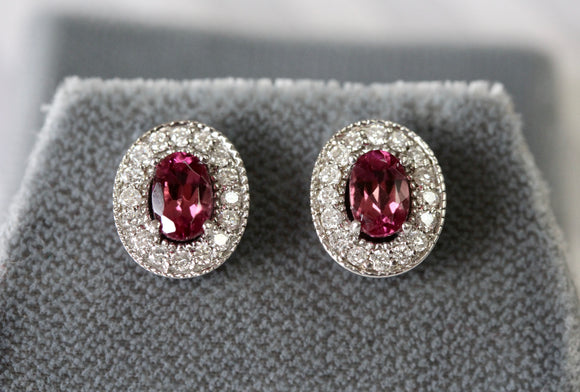 Pretty ~ Pink Tourmaline & Diamond Earrings