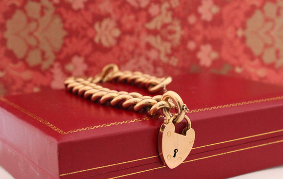 Fabulous Antique Gold Bracelet with heart shaped lock