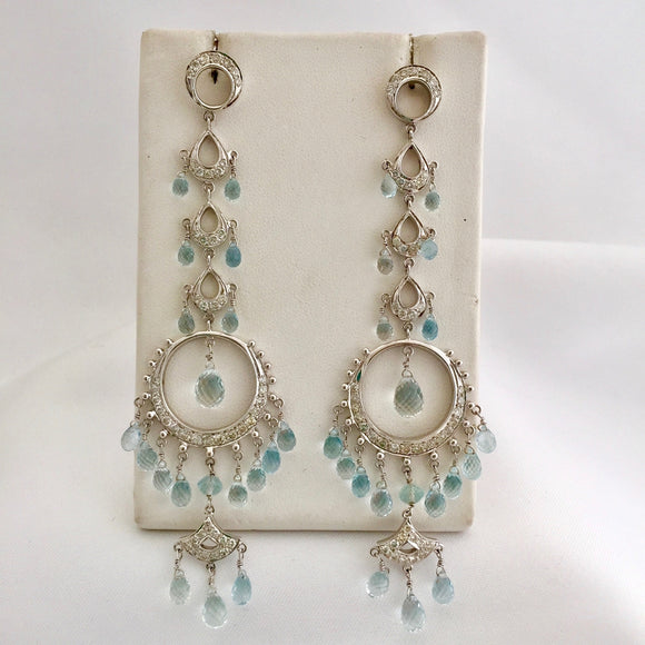 Diamond and Aquamarine Long Drop Earrings
