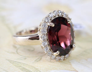 Fabulous & Fancy ~ Rhodolite Garnet & Diamond Ring