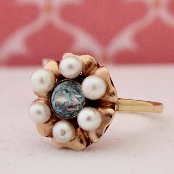 Charming Pearl & Blue Zircon Ring
