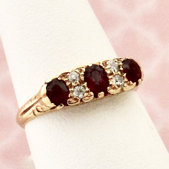 Antique Ruby & Diamond Ring, Circa 1890's