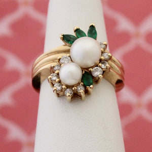 Lovely Pearl, Emerald & Diamond Ring