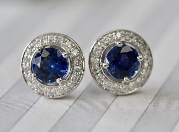Exquisite ~ Ceylon Sapphire & Diamond Earrings