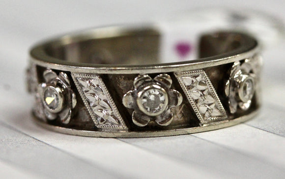 Retro ~ Etched Band with Diamond Accents