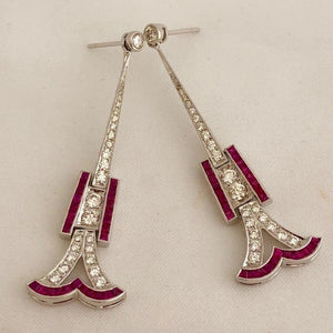 Art Deco Style Ruby and Diamond Earrings