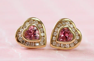 Pretty ~ Heart shaped Pink Tourmaline & Diamond Earrings