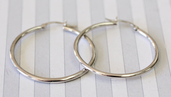 Chic & Classic ~ Hoop Earrings in 14K, white gold