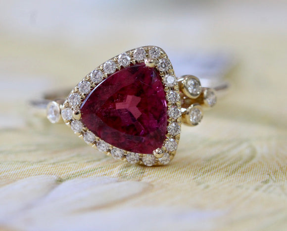 Flirty & Pretty  ~ Pink Tourmaline & Diamond Ring
