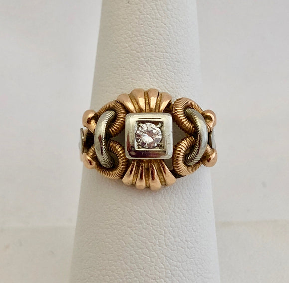 Retro Two-Tone Gold and Diamond Ring