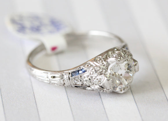 Diamond Ring with Sapphire Accents, Circa 1915 -1925