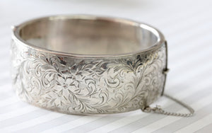Antique & Chic ~ Sterling Bracelet with decorative etching