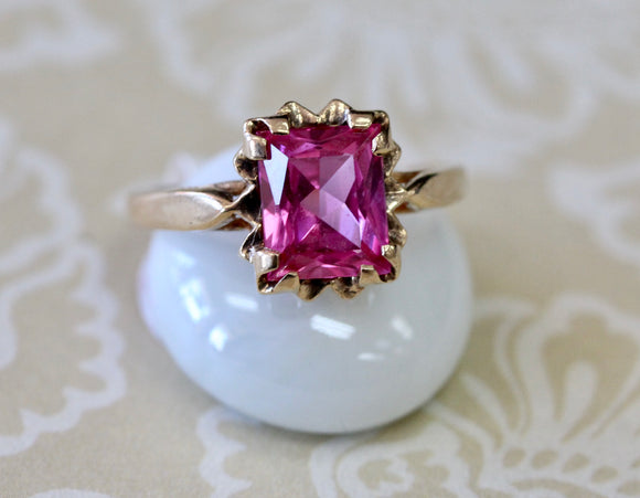 Pretty ~ Pink Stone Ring, 14K