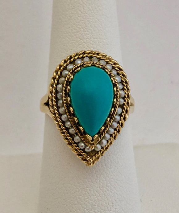 Turquoise and Seed Pearl Ring