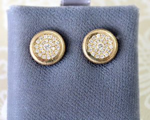 Diamond Cluster Stud Earrings ~ 18K