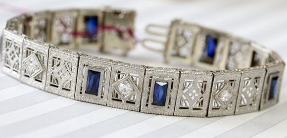 ANTIQUE ~ Diamond Bracelet with blue accents