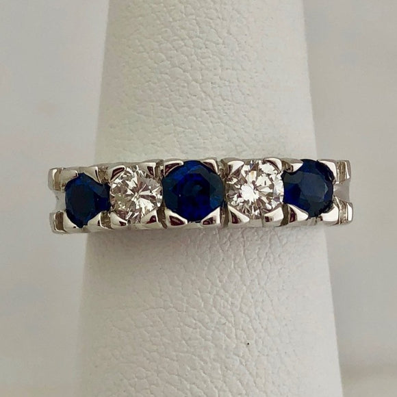 Sapphire and Diamond Fishtail Band