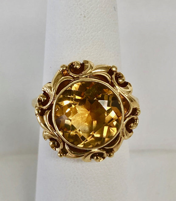 Arts and Crafts Style Citrine Ring